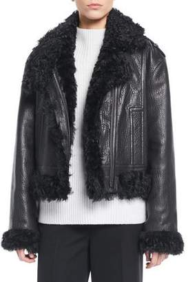 Vince Leather Moto Jacket w/ Shearling Lining