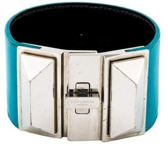 Saint Laurent Leather Turn-Lock Cuff silver Leather Turn-Lock Cuff