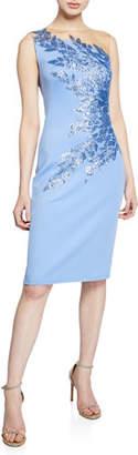 Tadashi Shoji Sleeveless One-Shoulder Illusion Neoprene Cocktail Dress w/ Sequin Detail