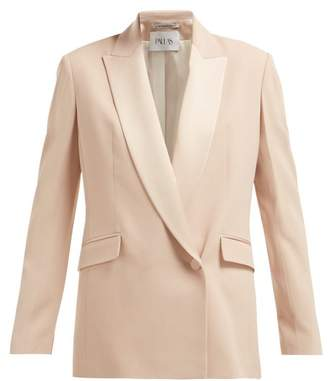 Pallas X Claire Thomson Jonville X Claire Thomson-jonville - Eden Contrast Lapel Single Breasted Wool Blazer - Womens - Light Pink