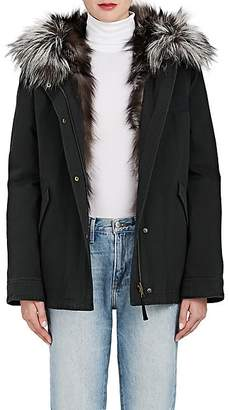 Yves Salomon Army by Women's Cotton Hooded Parka & Fur Liner Coat - Noir, Arge