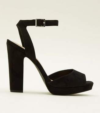 New Look Black Suedette Square Peep Toe Platform Sandals