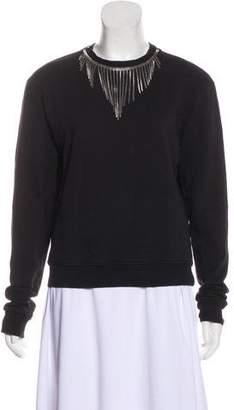 Saint Laurent Long Sleeve Embellished Sweatshirt