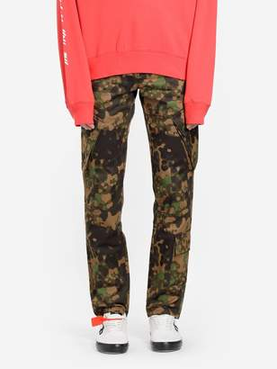 Off White C/O Virgil Abloh OFF WHITE C/O VIRGIL ABLOH MEN'S MULTICOLOR CAMOUFLAGE CARGO TROUSERS