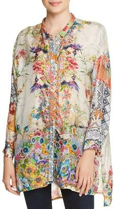 Johnny Was Leilani Printed Silk Blouse