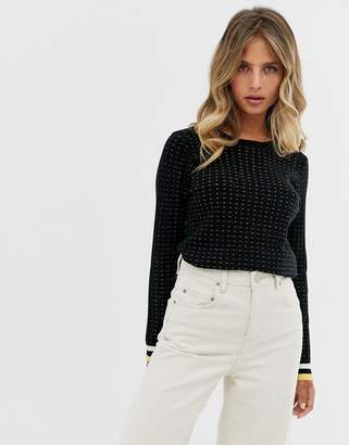 Pimkie dot print jumper in black