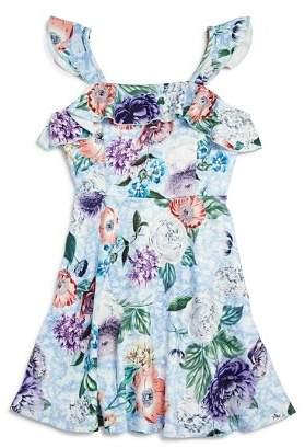 Pippa & Julie Girls' Floral Flutter-Sleeve Dress - Big Kid