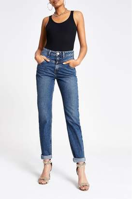 River Island Womens Dark Authentic Mom Scrabble Jeans - Blue