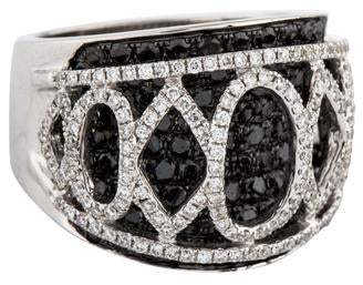 Ring 18K Diamond Ornate Wide Band