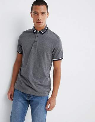 Ted Baker tipped jersey polo shirt in gray