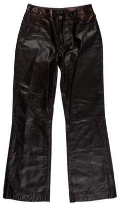 Theory Mid-Rise Leather Pants