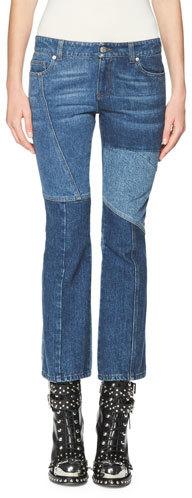 Alexander McQueenAlexander McQueen Patchwork Kick Crop Jeans, Light Blue
