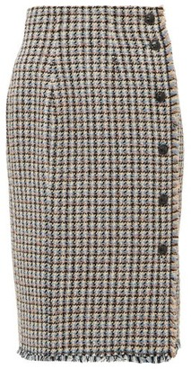 Rebecca Taylor Houndstooth Tweed Cotton Blend Skirt - Womens - Pink Multi