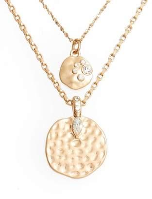 Treasure & Bond Multistrand Hammered Disc Pendant Necklace