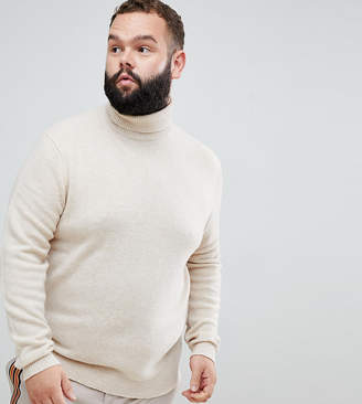 Asos DESIGN Plus lambswool roll neck sweater in oatmeal