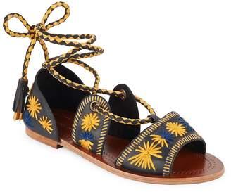 Antik Batik Women's Flow Embroidered Lace-Up Sandals