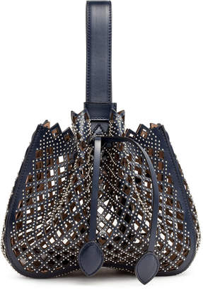 Alaia Navy Leather Studded Bucket Bag