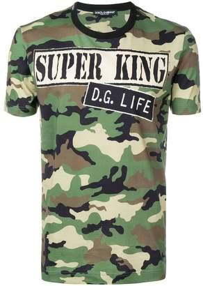 Dolce & Gabbana camouflage print slogan T-shirt