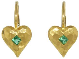 Cathy Waterman Emerald Hammered Heart Earrings - Yellow Gold