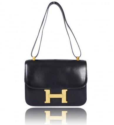 Hermes excellent (EX) Vintage Black Box Calf Constance 23 Flap Bag