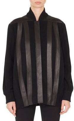 Akris Button-Front Leather-Striped Baseball-Collar Knit Jacket