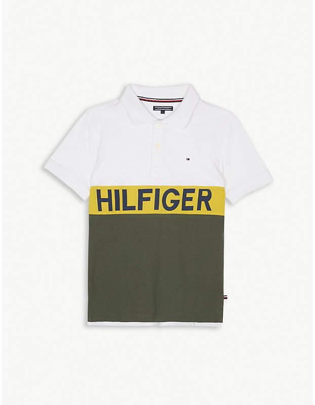 Brand logo print polo shirt 4-16 years