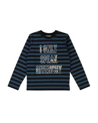 Givenchy Striped I Only Speak Long-Sleeve Tee, Size 12-14