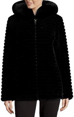 Liz Claiborne Hooded Heavyweight Faux Fur Coat