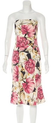 Karen Millen Floral Print Strapless Dress $75 thestylecure.com