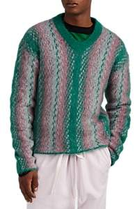Marni Men's Striped V-Neck Sweater - Green