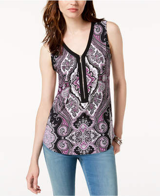 INC International Concepts I.N.C. Zip-Front Tank Top, Created for Macy's