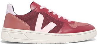 Veja V-10 Leather, Suede And Tweed Sneakers - Burgundy