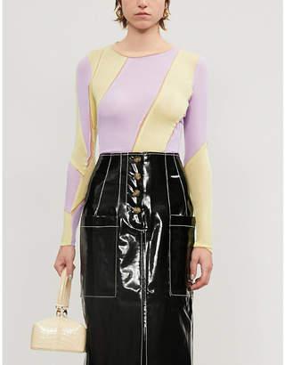 REJINA PYO Reese colour-block striped rayon-blend top