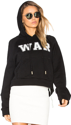 OFF-WHITE War Hoodie in Black $628 thestylecure.com