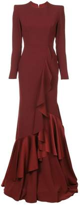 Alex Perry structured shoulder ruffle dress
