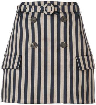 Jonathan Simkhai striped double breasted skirt