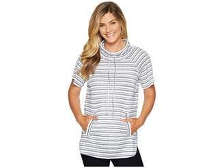 Vince Camuto Short Sleeve Variegated Stripe Rib Funnel Neck Pullover Women's Short Sleeve Pullover