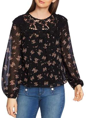 1 STATE 1.STATE Crochet Trim Floral Print Top