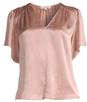 Rebecca Taylor Flutter-Sleeve Charmeuse Blouse