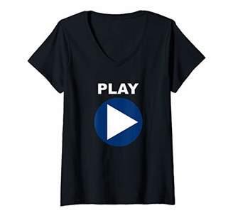 Womens Play Techno DJ Old School Dance Rave Club Festival Party V-Neck T-Shirt