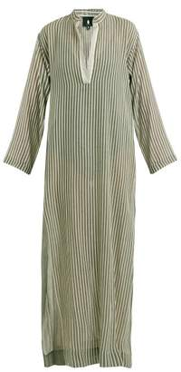 Su - Kika Mandarin Collar Striped Kaftan - Womens - Khaki