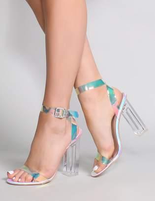 fbd28615db8b Public Desire Alia Strappy Perspex High Heels in Iridescent
