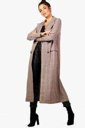 boohoo Tall Check Wool Look Coat