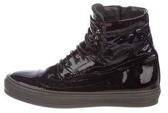 Alexander McQueen Patent Leather High-Top Sneakers