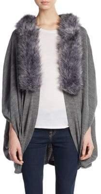 La Fiorentina Faux Fur-Trimmed Poncho