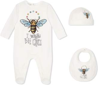 Gucci Kids Baby cotton gift set with bee b7ae713b8cd38