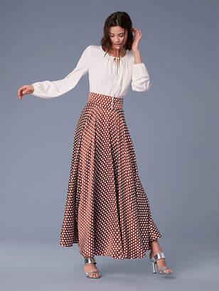 Diane von Furstenberg Long-Sleeve Keyhole Blouse
