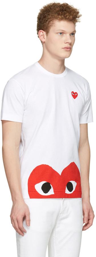 Comme des Garçons Play White Half Heart T-Shirt 3