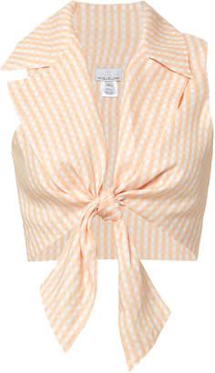 Miguelina Jill Tie Front Crop Top