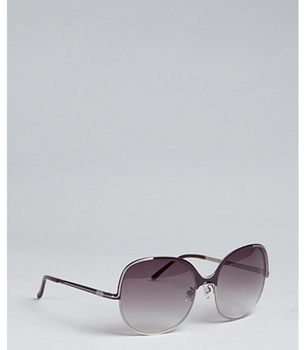 Chloe silver and plum metal round oversize sunglasse